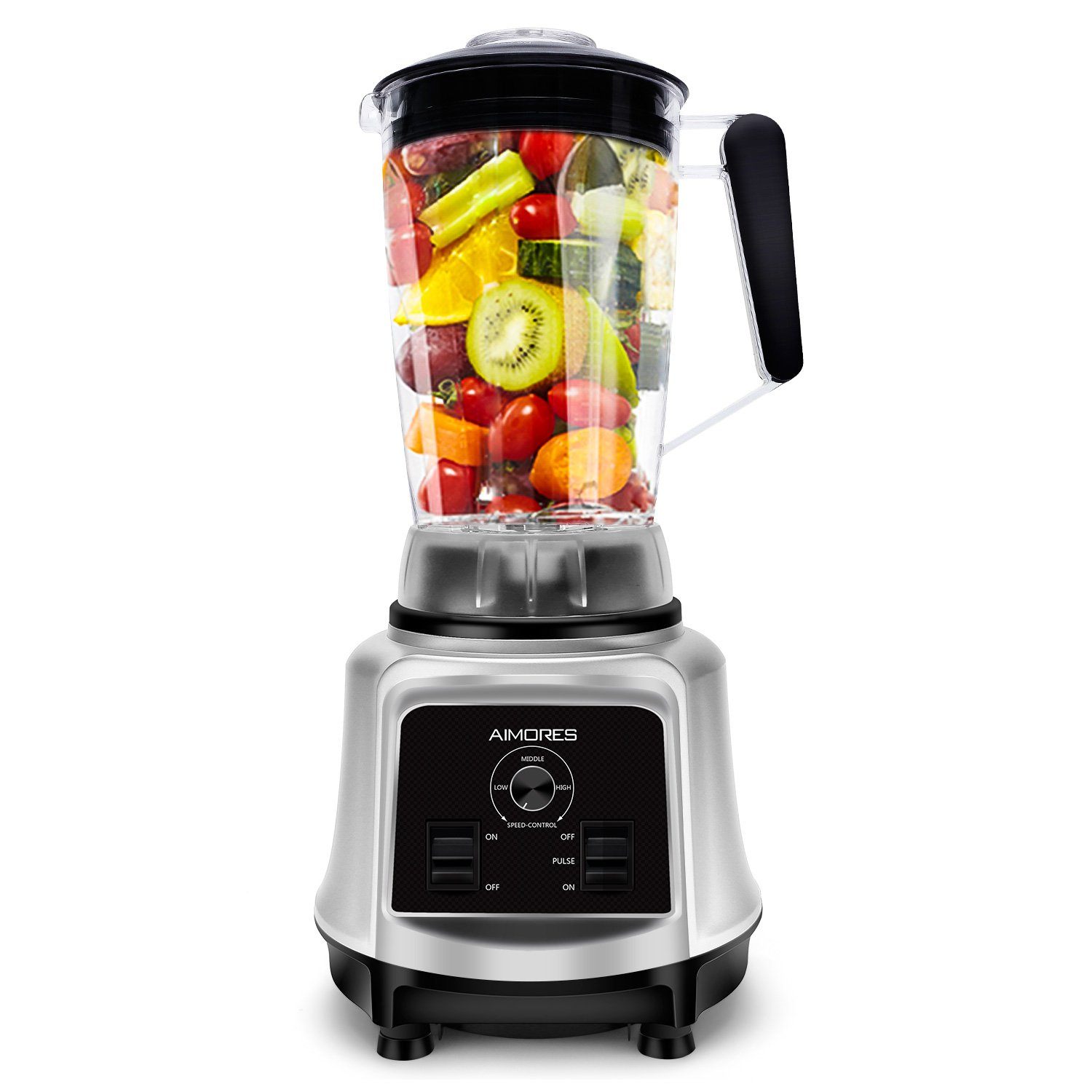 Commercial Blender AIMORES, Juicer for Smoothie,Juice,Ice Cream,Variable Speed Control,Optimized 6 Sharp Blades, 75oz Big Tritan Pitcher,with Recipe | ETL & FDA Certified (Silver) by ISUN
