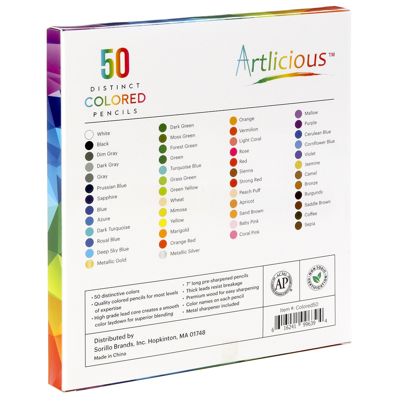 amazon com artlicious 50 premium distinct colored pencils for