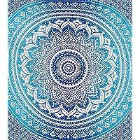 Aakriti Gallery Montreal Tappassier Ombre Colgante de pared indio Hippie Mandala Tapicería Bohemia Colcha Decoración étnica del dormitorio, Azul