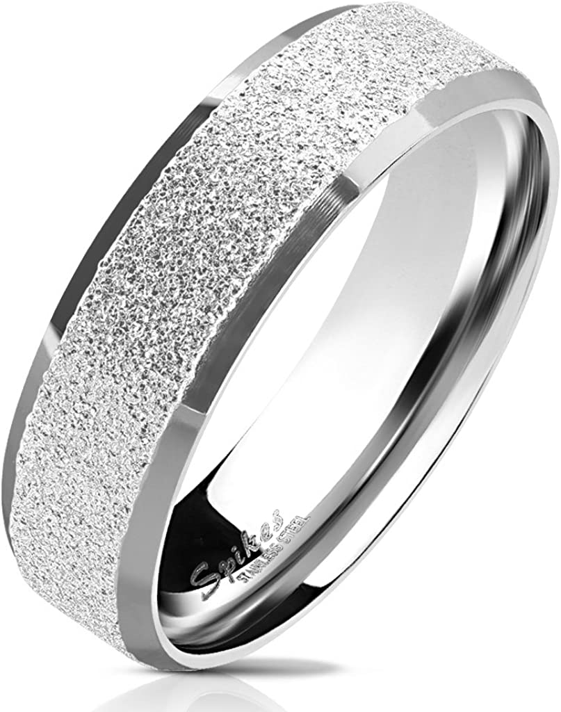 S/&H JEWELRY Bundle Deal 4 stainless steel rings Sandblasted Center with Polished Beveled Edge 316L Stainless Steel Ring