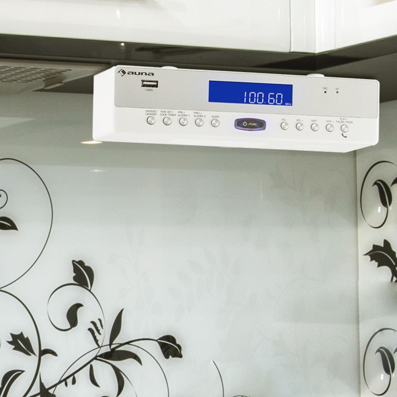 auna KR-100 BK /• Radio cucina montaggio sotto scaffale /• Radio FM PLL /• ricerca automatica e manuale /• 30 stazioni /• Bluetooth /• Porta USB MP3 /• Doppia sveglia /• Snooze /• Altoparlanti stereo /• Nero