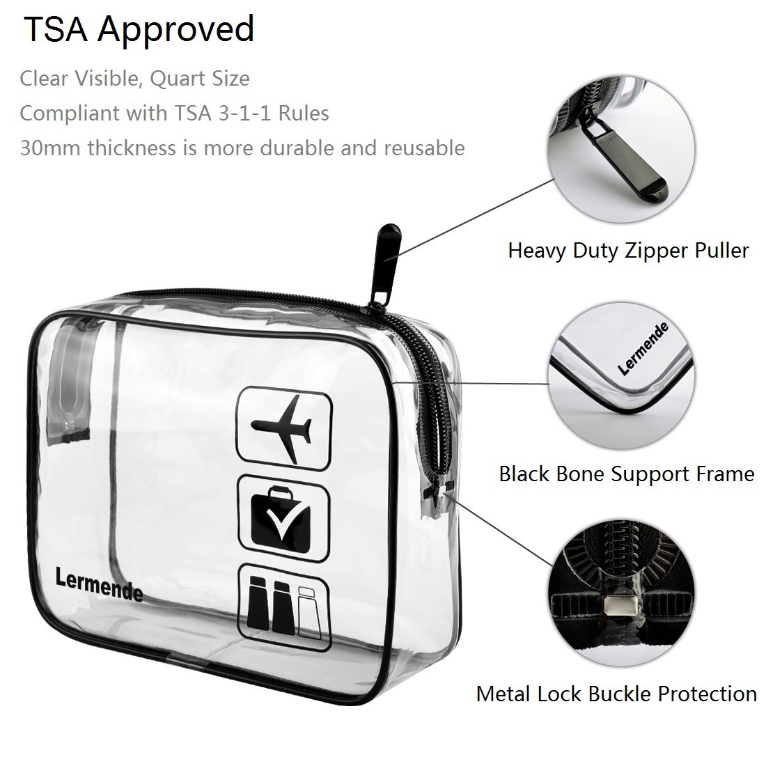 3pcs Lermende TSA Approved Toiletry Bag with Zipper Travel Luggage Pouch Carry On Clear Airport Airline Compliant Bag Travel Cosmetic Makeup Bags - Black by Lermende (Image #3)