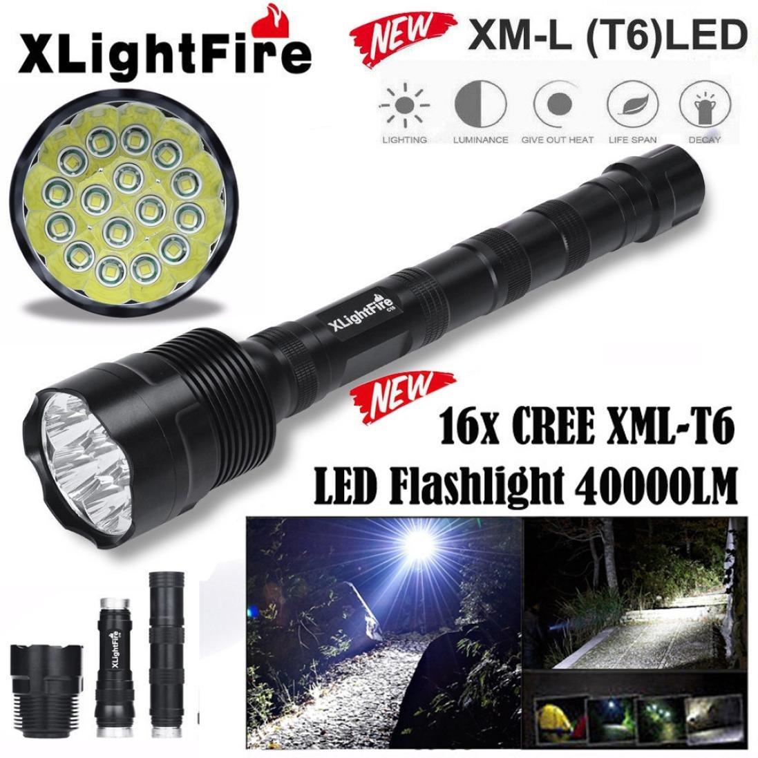 Handheld Flashlights,Lookatool XLightFire 16x XML T6 5 Mode 18650 Super Bright LED Flashlight