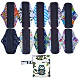 10 Pieces 10 Inch Regular Flow Charcoal Bamboo Mama Cloth/Menstrual Pads/Reusable Sanitary Pads+1 Wet Bag
