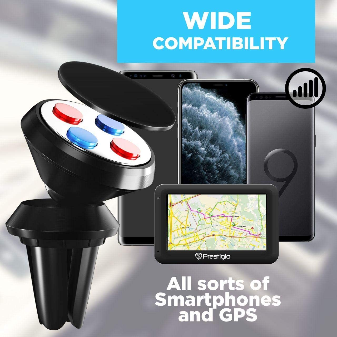 Car Phone Mount Magnetic Holder Air Vent Phone Holder for iPhone Xs Max XR XS X 8 7 6 6S and Samsung Galaxy S10 S9 S8 Plus Models