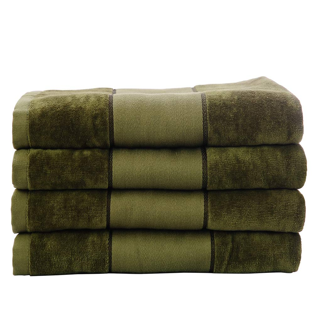 4 Pack Superior 100% Cotton Luxury Hotel & Spa Bath Towel Set for Bathroom- Cut-Pile Ring Spin,Oversized 32 X 60 inch Bath Sheets (Moss Green)