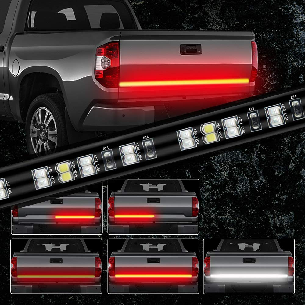 Red//White No Drill Needed JUNEVEN Tailgate Light Bar 60 Inch Truck Brake Flexible Strip Trailer Tail Lights Turn Signal Reverse Back Up Stop Running Light for Pickup RV SUV Van Car Jeep