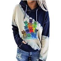 AILIEE Dames lange mouwen met capuchon kleurblok kattenprint zak sweatshirt top blouse tops trui mode vrouwen oversized…