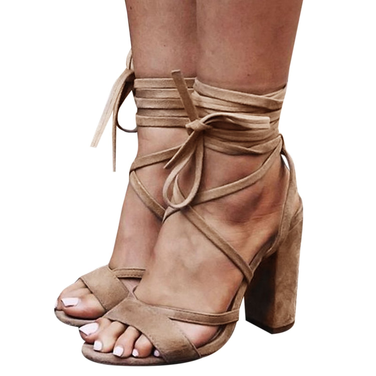 Liyuandian Womens Platform Open Toe Ankle Strap Zipper Back High Heel Sandals