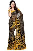 Vaamsi Women's Georgette Saree(Vega3001_Black and Yellow)
