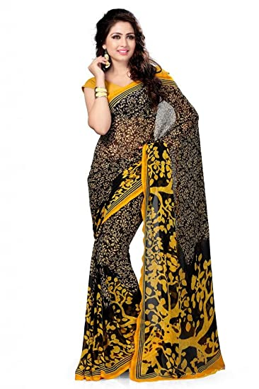 24f5230a0b3 Vaamsi Georgette Saree with Blouse Piece (Vega3001 Black One Size)  Amazon. in  Clothing   Accessories