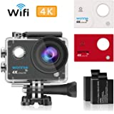 Action Camera 4K WONNIE Wifi Sport Camera 1080P 16 MP HD Waterproof 170 Degree Wide Angle with 2.4G Wireless Wrist Remote Control and Helmat Holder