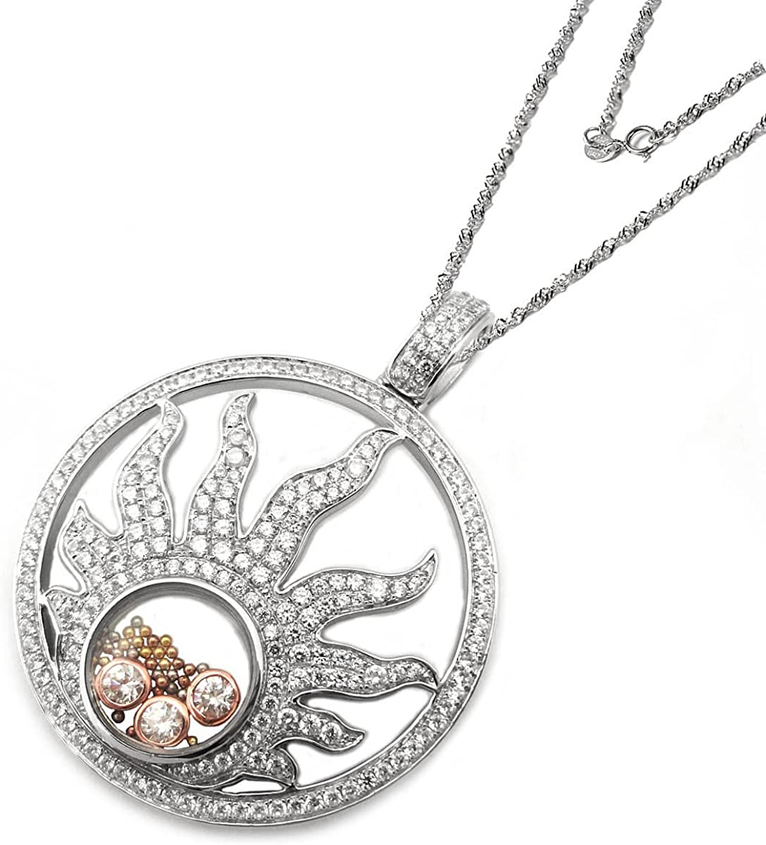 De Buman Two-tone Sterling Silver 6.37ctw Cubic Zirconia and Crystal Sun Pendant Necklace 24