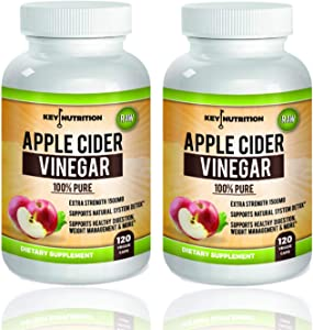 Apple Cider Vinegar 1500mg, 100% Organic, Pure & Raw - Healthy Blood Sugar, Weight Loss, Digestion & Detox Support - (Pack of 2) 120 Day Supply.