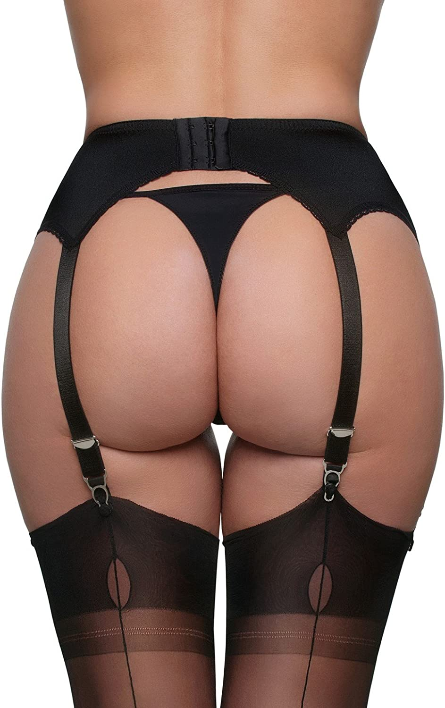 Nylon Dreams NDL8 Womens Black Solid Colour Lace Garter Belt 6 Strap Suspender Belt