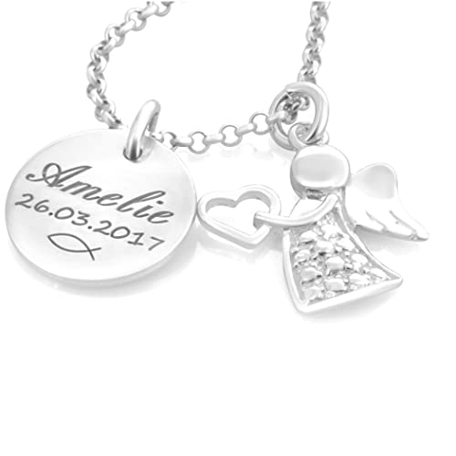 Taufkette Mädchen mit Gravur ❤️ Namenskette Taufe Silber