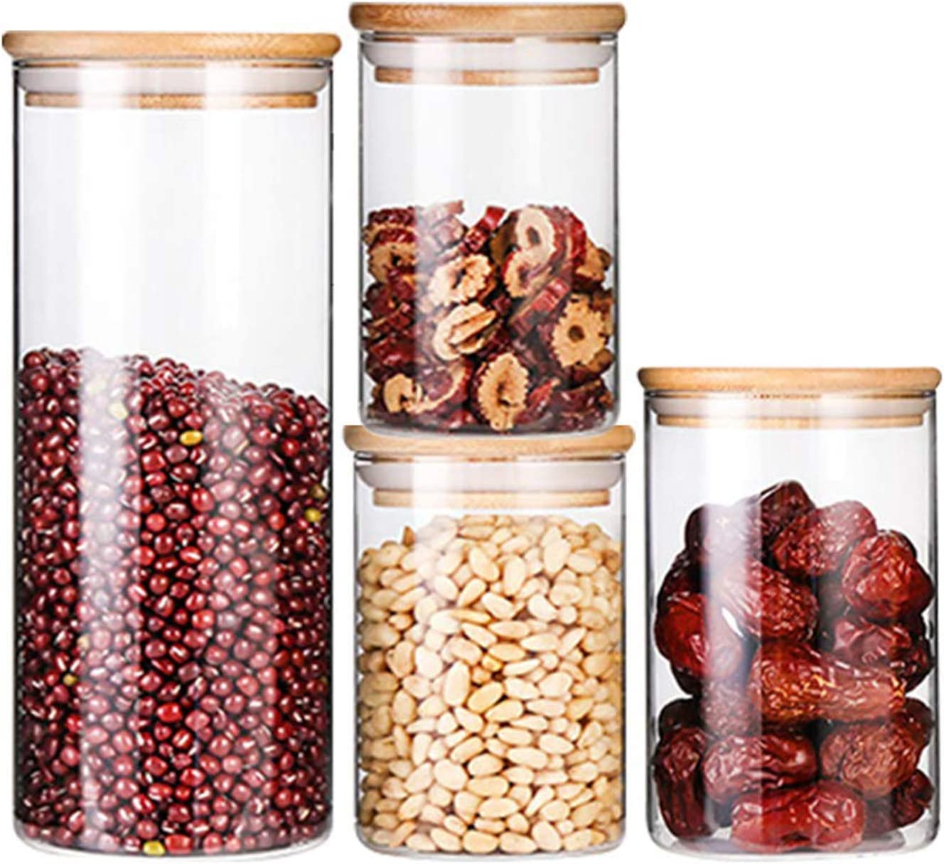 Glass Storage Jar Bottle with Bamboo Lid Clear Food Sealed Storage Container NEW