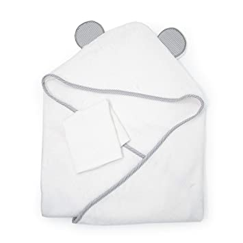 Premium Bamboo Hooded Baby Towel + Washcloth Set. Our Large, Soft, Organic Hooded
