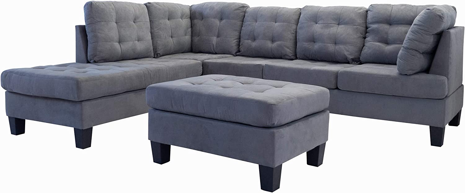 Casa Andrea Milano LLC 3 Piece Modern Tufted Micro Suede L Shaped Sectional Sofa Couch with Reversible Chaise & Ottoman, Slate