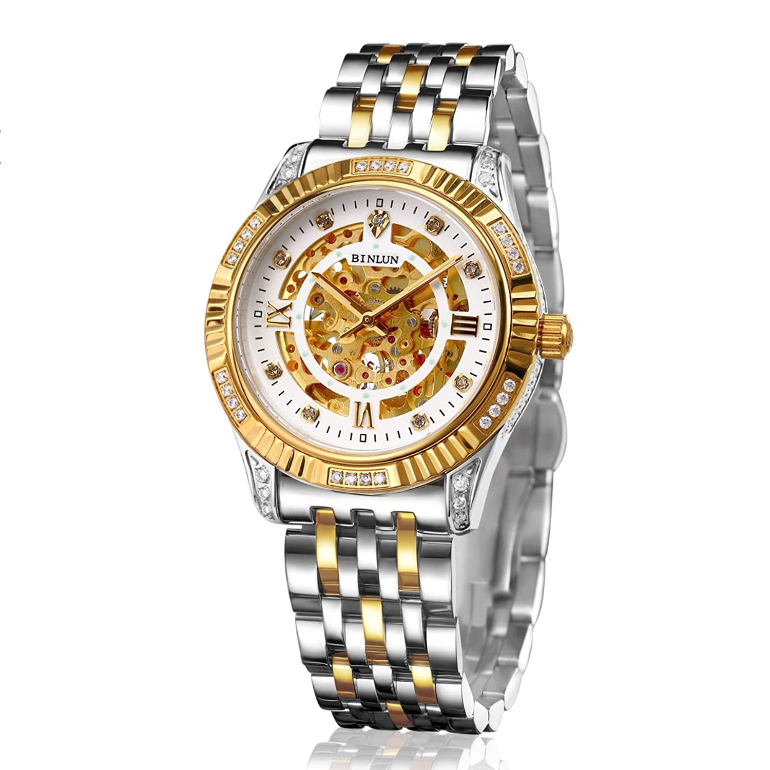 BNLUN Gents Two Tone 18k Gold Plated Watch Diamond Visible Gear Skeleton Automatic Mechanic Watch