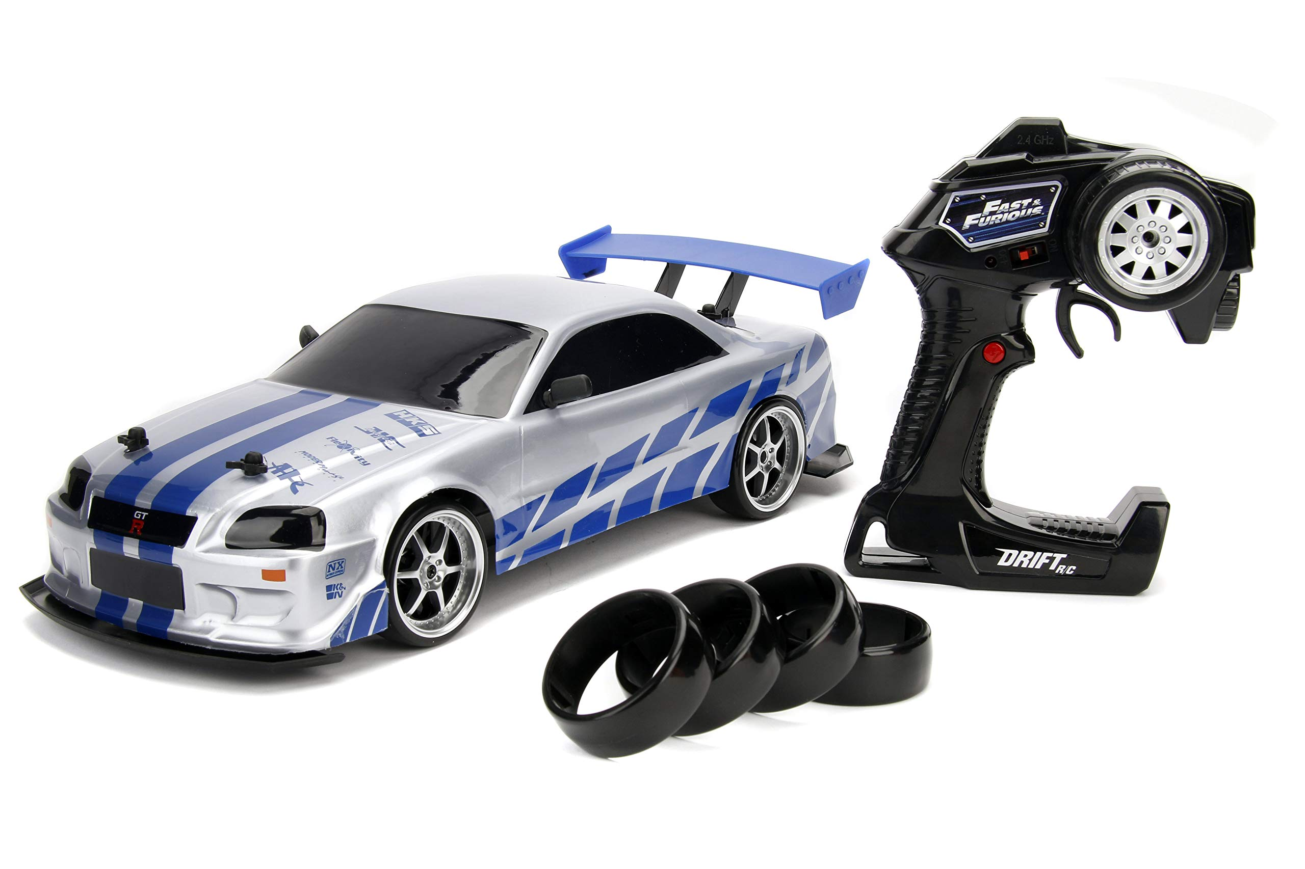 Jada 99701 Toys Fast & Furious Brian's Nissan Skyline GT-R (BN34) Drift Power Slide RC Radio Remote Control Toy Race Car with Extra Tires, 1:10 Scale, Silver/Blue by Jada (Image #1)