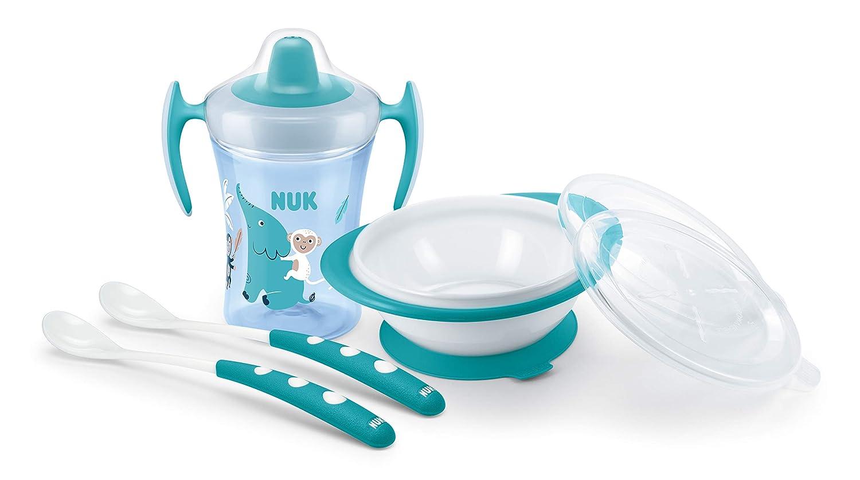 Esslernschale und Futterl/öffel ab 6 Monaten blau Geschenkbox mit Trainer Cup NUK 10225206 Esslern-Set Boy