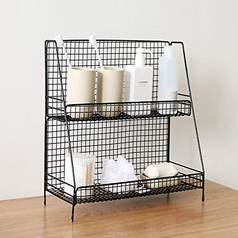 Sh Black 2 Tier Wire Basket Bathroom Organizer Shelves Cosmetic Makeup Organizer Dresser Countertop Storage Spice Rack Desktop Freestanding Jars