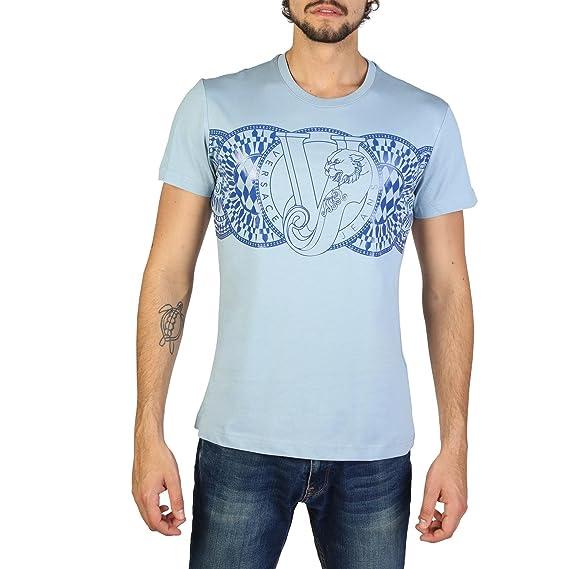 d4656e20 Versace Jeans Men's Short Sleeve t-Shirt Crew Neckline Jumper blu:  Amazon.co.uk: Clothing