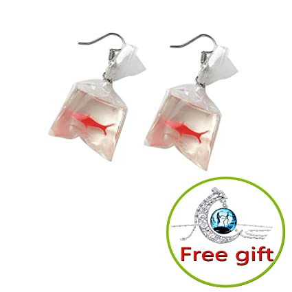d87ceb3e1448e Women Funny Goldfish Water Bag Shape Dangle Hook Earrings Female Charm  Jewelry