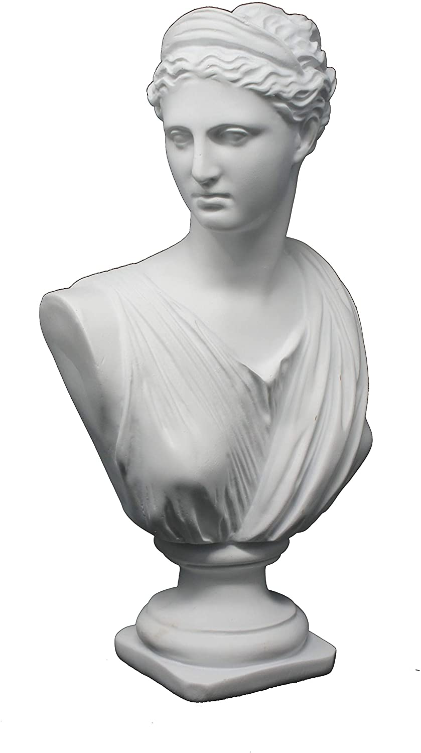 Good Buy Gifts Diana The Huntress Bust - Roman God Statue - 1Ft Height - White/Green Color (White)