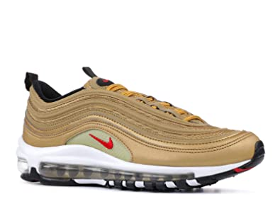Nike Boy's AIR MAX 97 QS '17 (GS) Shoe Metallic GoldREDWhite