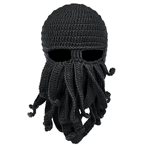 fe6d20c3e9e70 Amazon.com  Unisex Knit Beanie Funny Octopus Crochet Hat Knit Beard ...