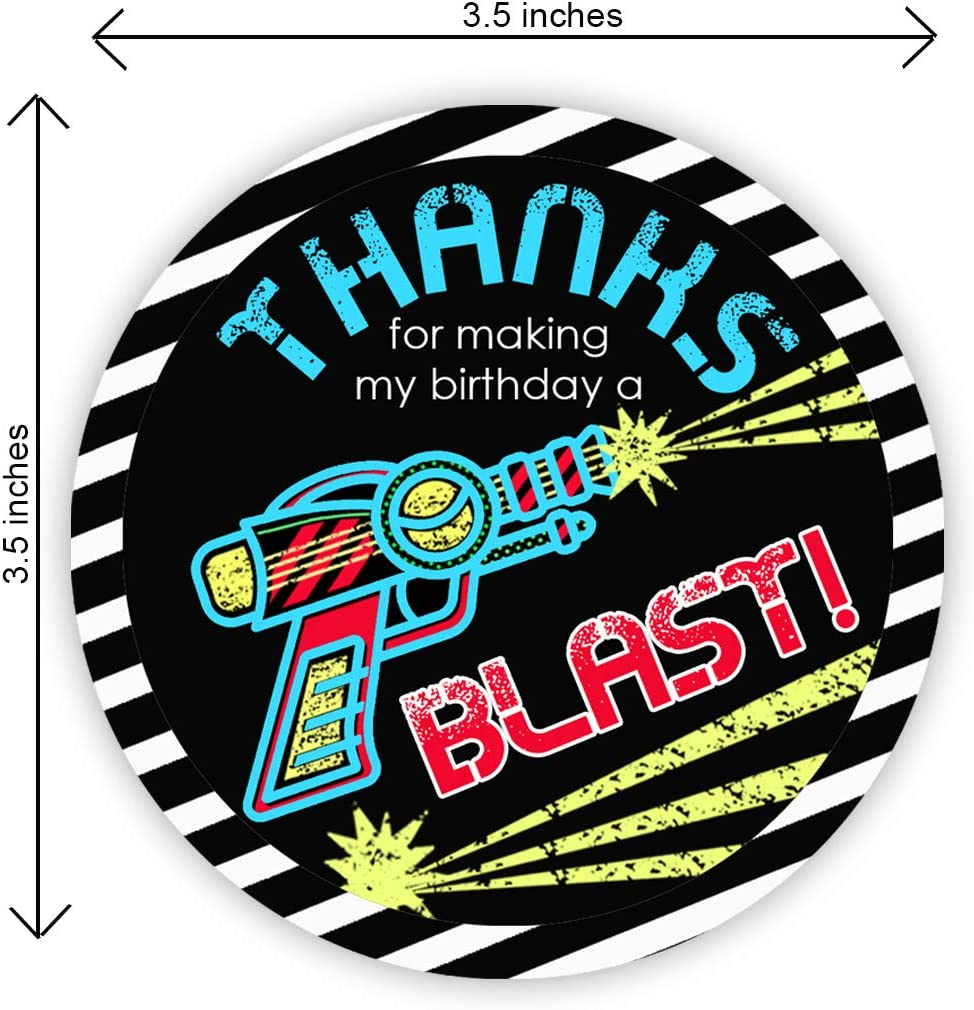Laser Tag Party Supplies Laser Tag Party Decorations POP parties Laser Tag Party Favor Stickers 40 Favor Bag Stickers Laser Tag Thank You Tag
