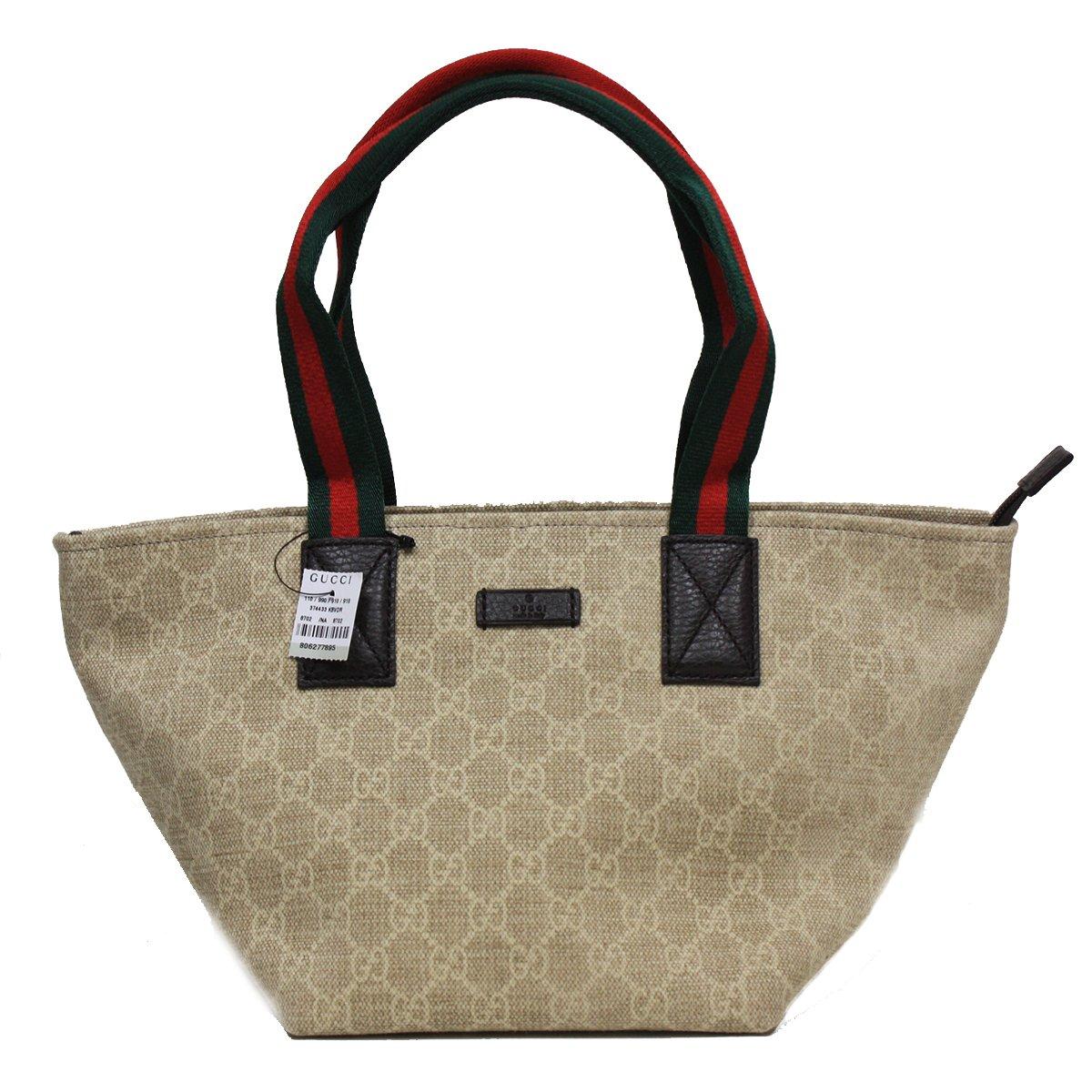 Gucci Washed GG Canvas Logo Duffel Bag Tote Handbag 374433, Web Red/Green