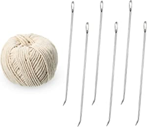 7 Pieces Poultry Lacing Kit Turkey Lacer 7 Inch Roasting Supplies Meat Trussing Needle Stainless Steel Pin and Twine Cooking Twine for Trussing, Tying Poultry Meat, Pig, Roasting Turkey