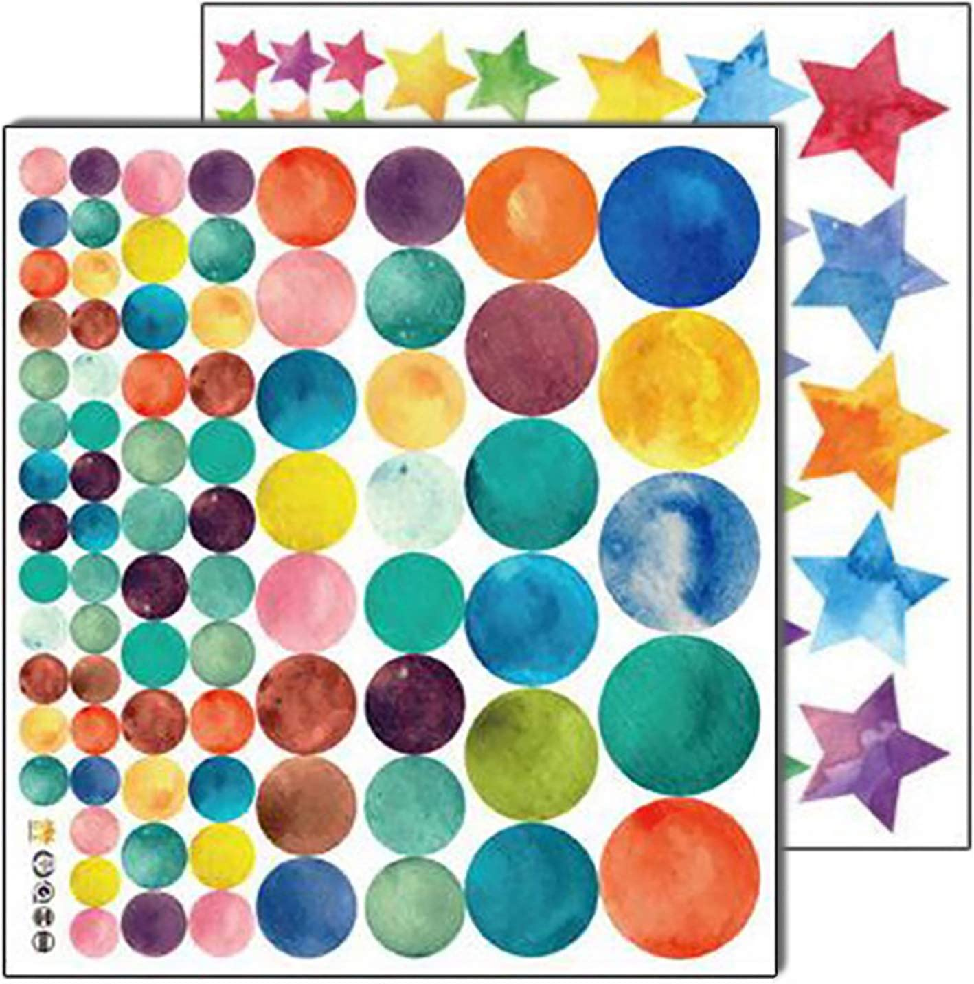 Coobbar 147 Count Multi Size Polka Wall Decals, Peel and Stick Wall Stickers, Rainbow Wall Decals for Kids Room, Living Room, Bedroom(Round and Star)