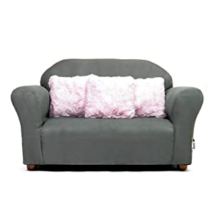Keet Plush Childrens Sofa with Accent Pillows, Charcoal/Pink