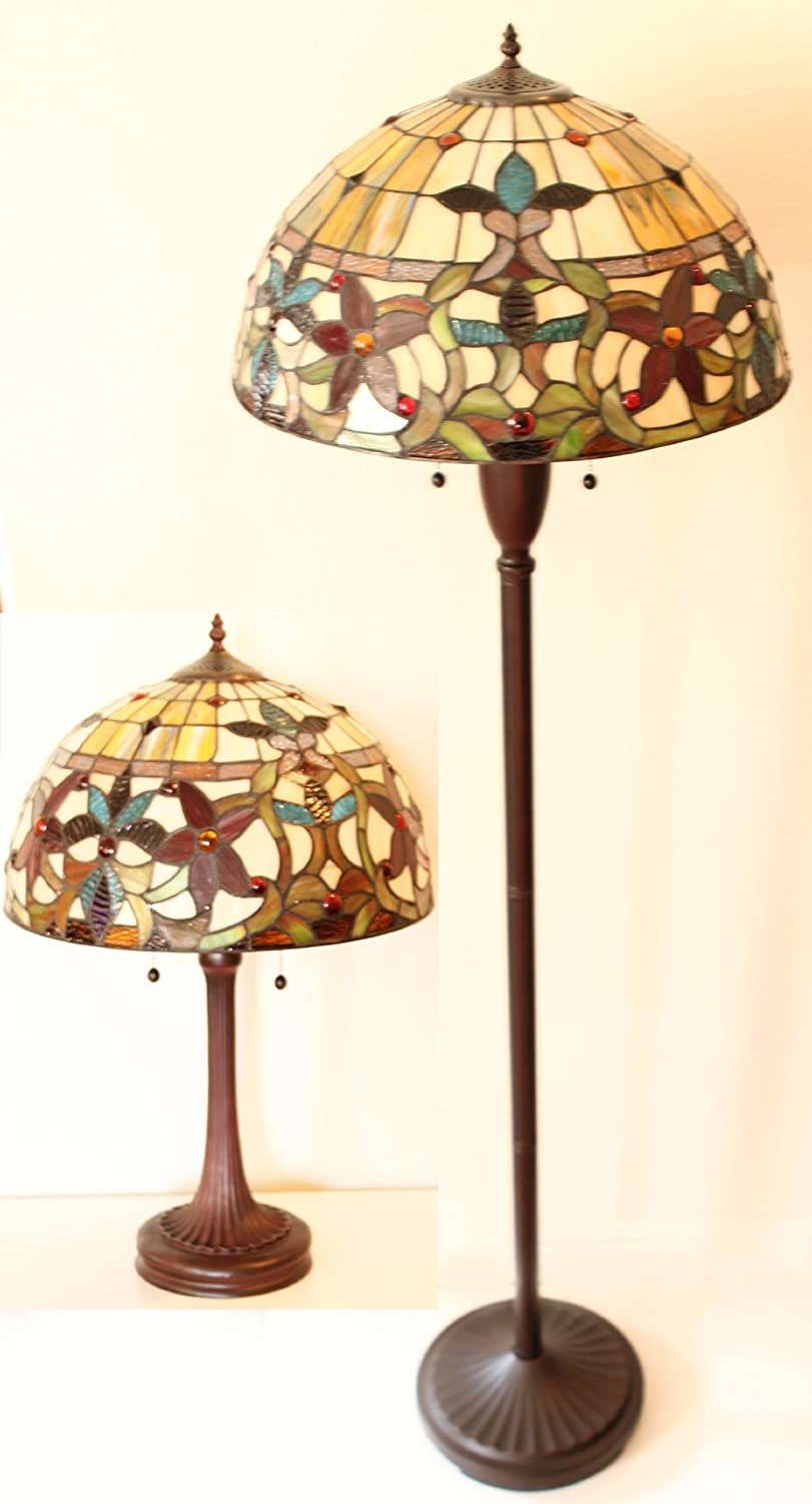 Tiffany style floral table and floor lamp set amazon mozeypictures Gallery