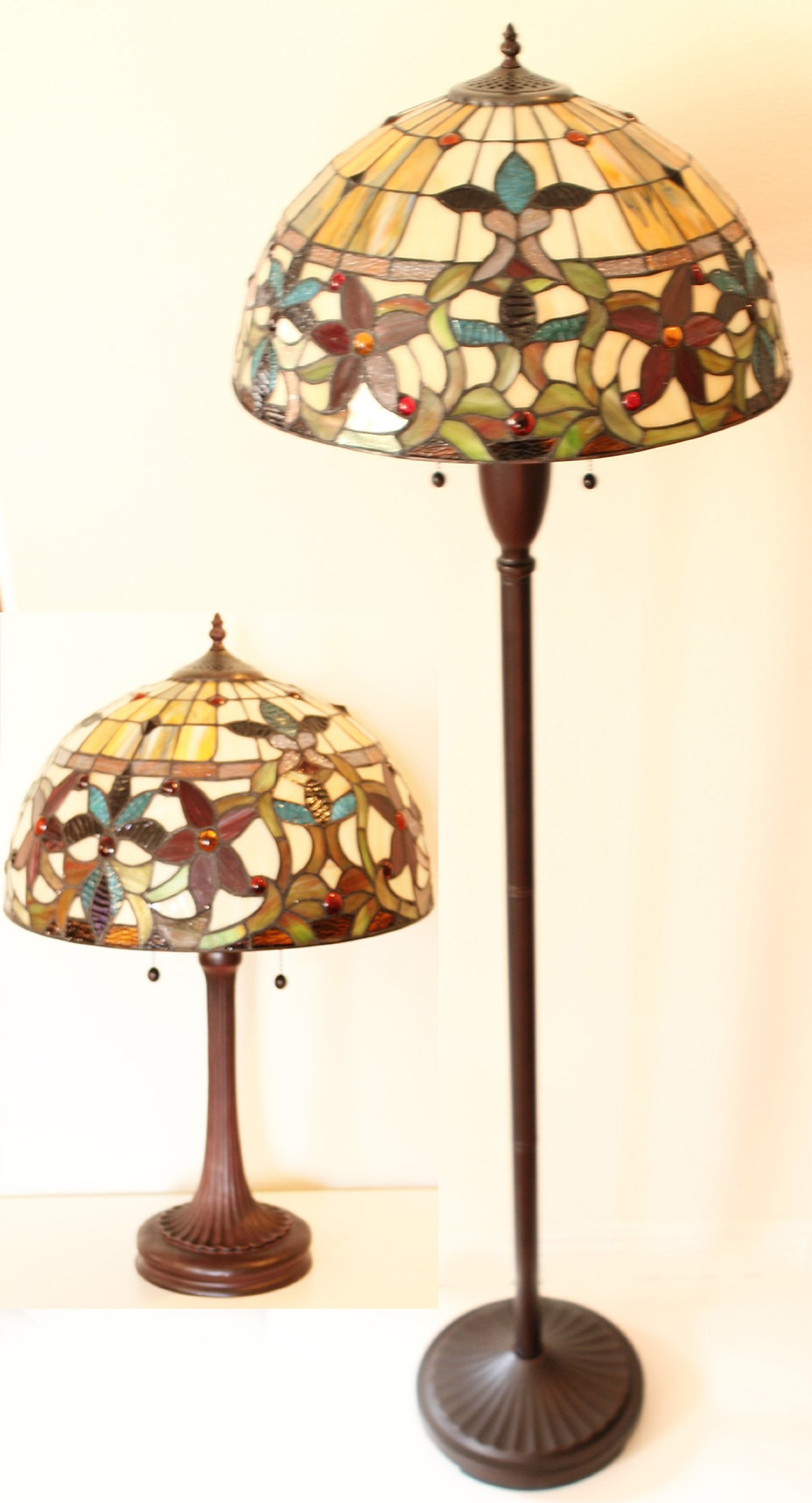 Tiffany Style Floral Table and Floor Lamp Set