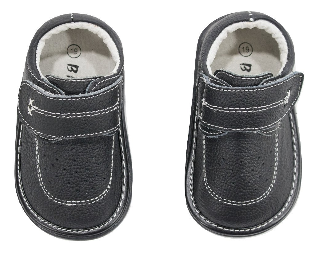 Anderson Baby Care LLC Squeaky Shoes for Toddler Boys (4T, Black Loafer)