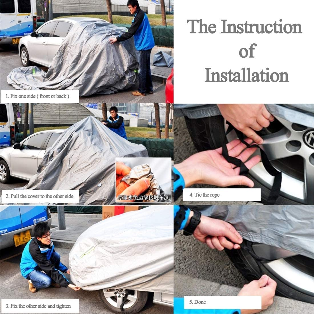 di lunghezza copertura auto 172 pollici Adatto Auto fino a 4.4m PEVA antipolvere impermeabile Sunproof Hatchback di copertura auto con strisce di avvertimento Copriauto