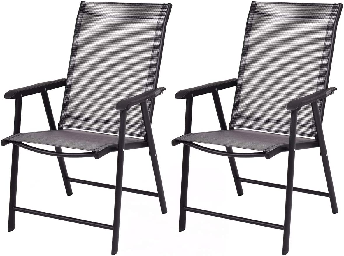 Giantex 2-Pack Patio Folding Chairs Portable for Outdoor Camping, Beach, Deck Dining Chair w Armrest, Patio Chairs Set of 2, Grey