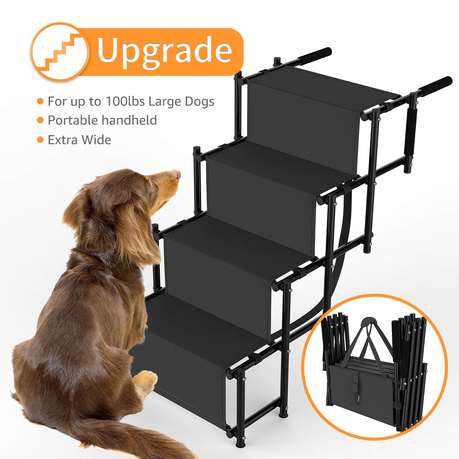 Dog Car Step Stairs Foldable SUKI&SAMI Metal Frame Folding Dog Ramp for Car,Lightweight Portable Large Dog Ladder,for Dogs and Cats,SUVs and Trucks,Couch and Bed,Protect Pets' Joint and Knee by SUKI&SAMI (Image #2)
