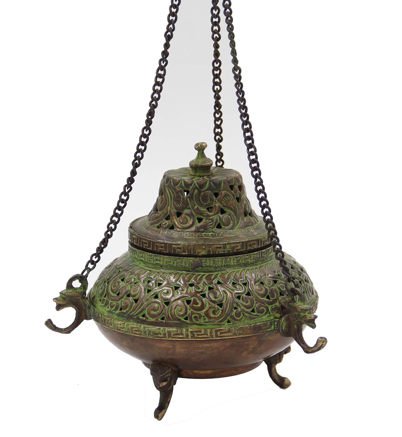DharmaObjects Tibetan Traditional Hanging Incense Burner Copper (5.5 x 4.5 x 4.5 Inches, Hanging 7) by DharmaObjects (Image #3)