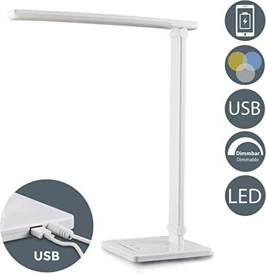 LED Lámpara Escritorio blanca de Mesa 5W con USB, 7 Niveles de ...