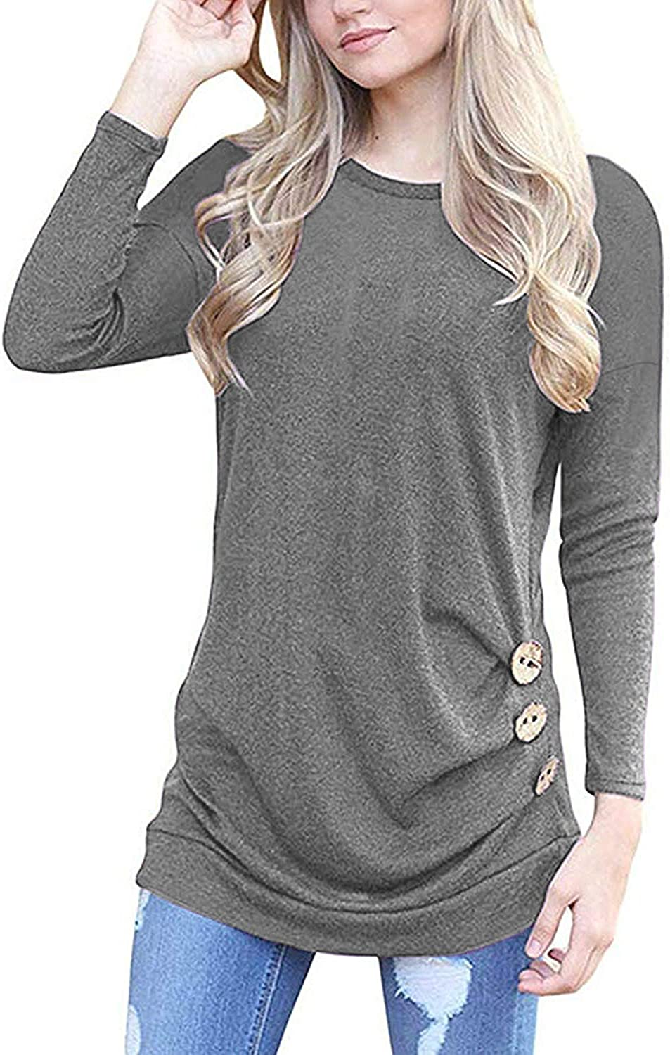 Womens Casual Long Sleeve Round Neck Loose Tunic T Shirt Blouse Tops S-XXL