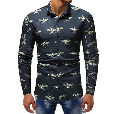 1231f17463 Blusa Impresa para Hombre de la Manera Camisas Ocasionales de Manga Larga  Slim Tops por Internet  Amazon.es  Ropa y accesorios