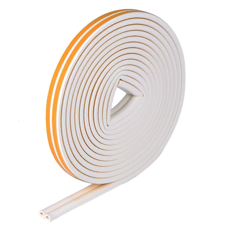 VIDEN Autoadhesivo Sellar Ventana Tira de Sellado en Forma de D, burlete de goma con la junta y la espuma para Puerta Ventana, blanco