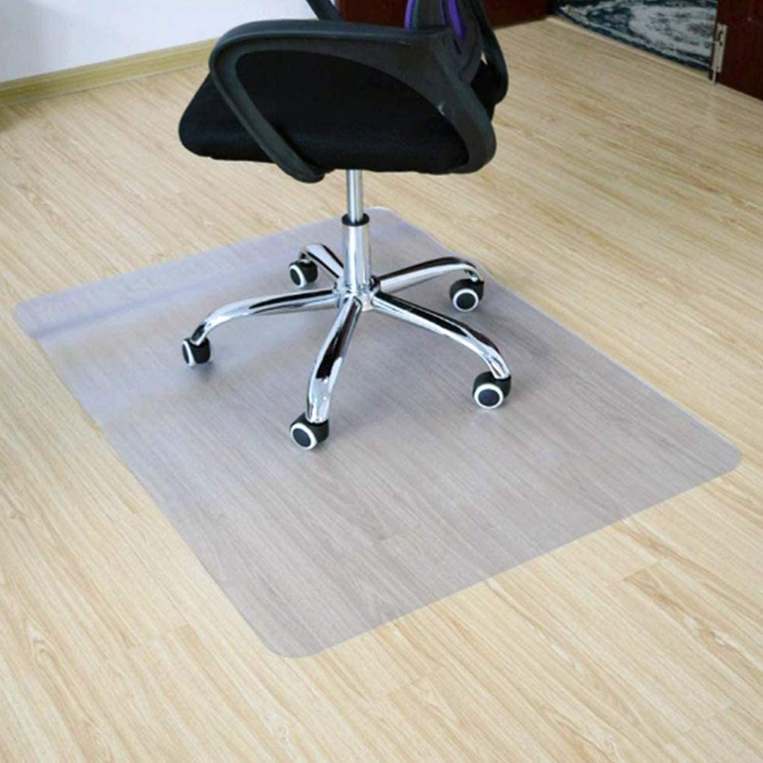 "Office Desk Chair Mat for Hardwood Floors- PVC Matte, Transparent Durable Hardwood Floor Protector, Chair Mat is Immediately Flat Out of Box, 36""x48""(Clear)"