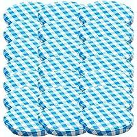 48 Twist-Off-dekselsluitingen, vervangdeksel voor inmaakpotten, To 66, geschikt voor 70/125/167 ml, blauw geruit